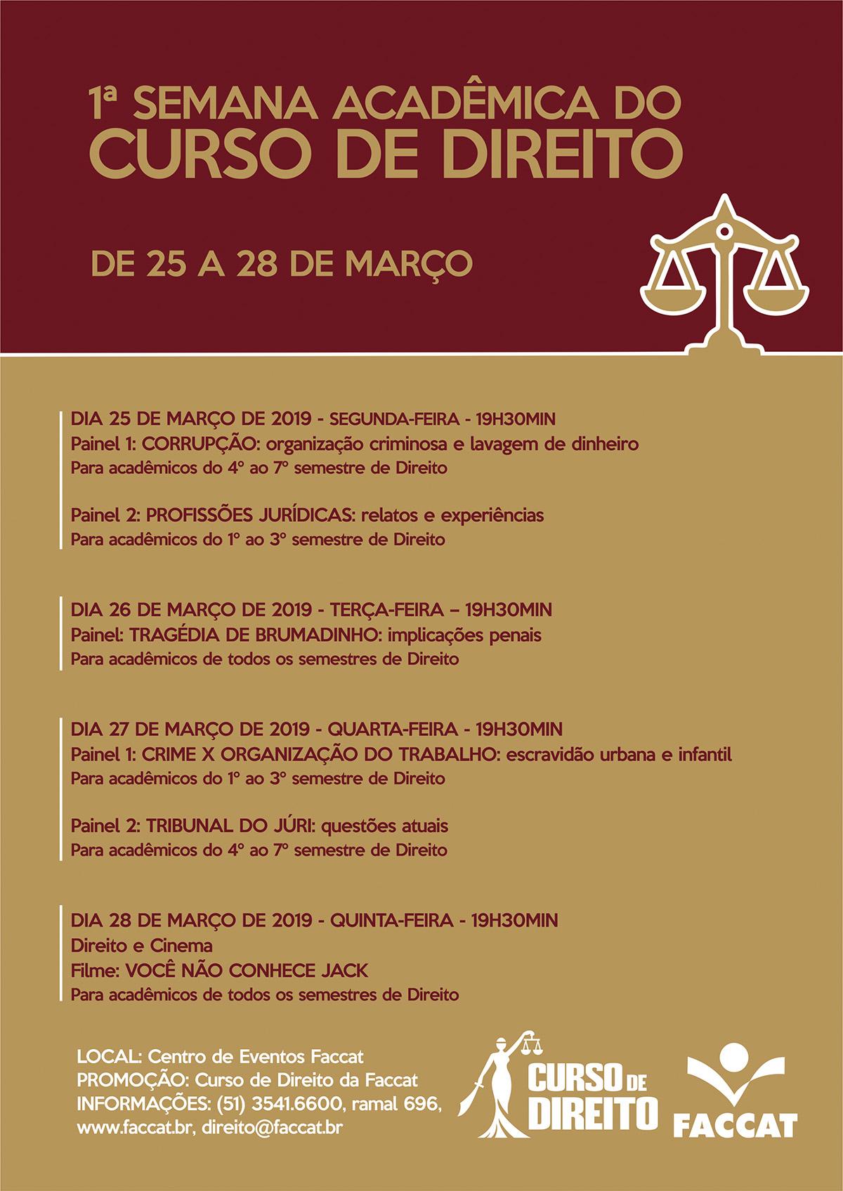 a59ccc7dff 1ª Semana Acadêmica do curso de Direito