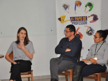 Professores Fátima Rodhen, André Luciano e Carmen Gomes